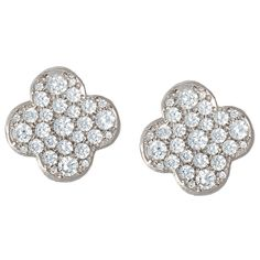 Earrings :: Diamond Earrings :: 18kt White Gold and Diamond Clover Earrings -