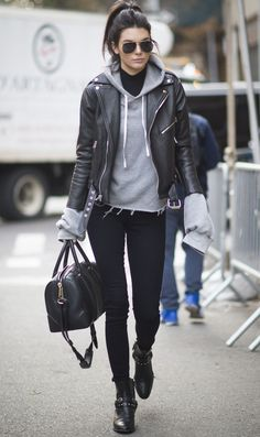 Street style leather jacket outfit idea