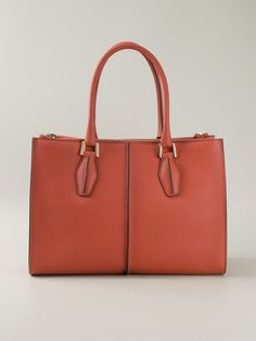 Orange leather 'D-Cube' shopping tote from Tod's.