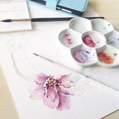 #watercolor#watercolour#watercolorpainting#draw#drawing#paint#painting#illustration#flowers#botanical#botanicalart#botanicalillustration#pink#aquarelle#workingprogress#иллюстрация#акварель#art#artist#artblog#art_help#art_gallery