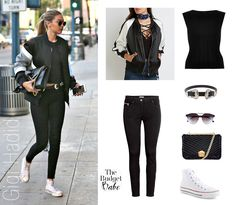 Gigi Hadid Bomber Jacket and Chuck Taylor Sneakers Look for Less