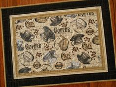 Quilted Table Topper  Vintage Coffee and Tea Themed by susiquilts