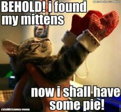 Behold I have found my mittens now I will have some pie please