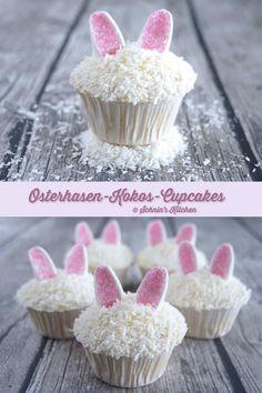 Osterhasen-Kokos-Cupcakes mit süßen Marshmallow-Ohren für Ostern backen | www.schninskitchen.de #ostern #Cupcakes #osterhase #marshmallows #kokos