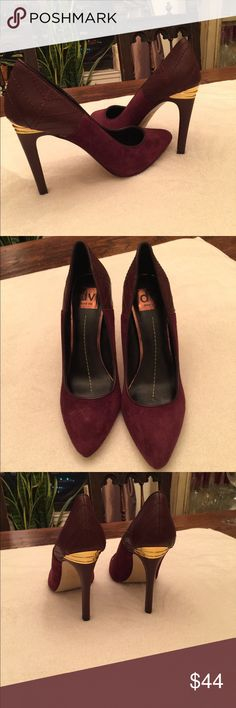"""Elegant Suede Pumps Plum Suede and leather pumps with gold detail on the 4 1/2"""" heel.  Perfect condition, Never worn. Dolce Vita Shoes Heels"""