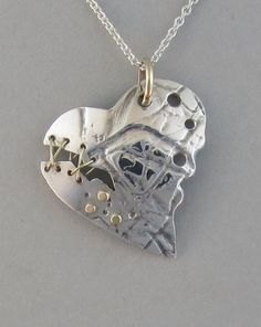 sterling silver heart pendant gold broken heart