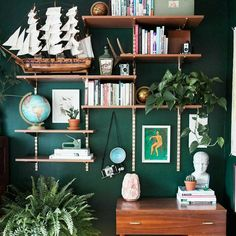 I thought the Indigo Room was my favorite place in this house. That was until I completed my hunter green home office this past January. Once I got a taste for moodier colors, I became a full-blown addict. Teal Office, Office Walls, Green Home Offices, Home Office Decor, Flat Interior, Interior Design, Eclectic Design, Study Office, Green Rooms