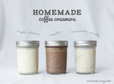 HOMEMADE COFFEE CREAMERS - Maple Almond, Cinnamon Vanilla, Mocha