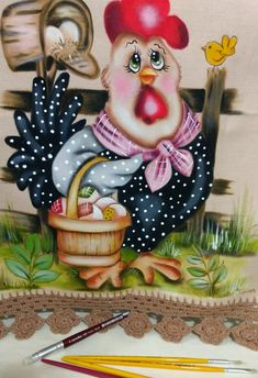 undefined Farm Cartoon, Wooden Spoon Crafts, Cartoon Chicken, Chicken Quilt, Country Chicken, Chicken Crafts, Chicken Painting, Tole Painting Patterns, Farm Art