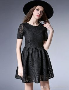 2017 2017 Little Black Dress Short Sleeves Hollow Embroidered Lace Stitching Net Yarn Spring Dresses Women Puffy Skirt Zipper Back From Dressonline0603, $61.5 | Dhgate.Com