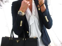 classic: nicely shaped n fitted blazer, elegant blouse.
