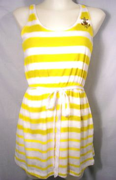 *MISS S/M*YELLOW STRIPED ANCHOR TANK TOP TUNIC ROCKABILLY RETRO NAUTICAL DRESS*