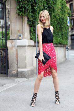 streetsfinest:  girlsinspo:  what-do-i-wear:  Lover skirt,Asos top,Sophia Webster heels,Clare Vivier clutch,Jacquie Aiche finger bracele...