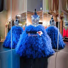 Wholesale 2017 Sweet 15 Dress Luxury Royal Blue V Neck Open Back Ruffle Skirt Ball Gown Quincenera Dress With Embroidery Sweet 16 Dress