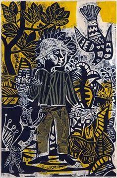 juanito laguna cazando pajaritos, grabado de Berni, 1961