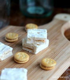 peanut butter ritz white chocolate fudege - can of white frosting, white chocolate chips, ritz. I am intrigued