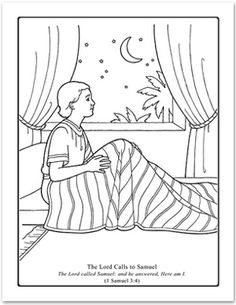 The Lord Calls Samuel Coloring Page