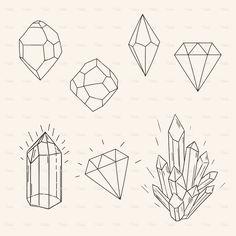 Hand drawn set sketch crystal,diamond and polygonal figure tatto stock vector art 71914669 - iStock