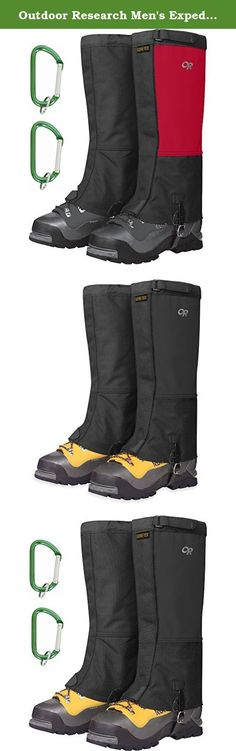 Outdoor Research Men's Expedition Crocodiles Gaiter Chili/Black w/ Carabiners Medium. The Outdoor Research Expedition Crocodiles Gaiters have an even thicker skin than the originals, making them the perfect choice for your long mountaineering trips. As they fit over most mountaineering boots and many ski boots, you can prevent crampon-induced pant shredding, or just seal out the elements. Waterproof, breathable GORE-TEX combines with industry-standard durable Cordura fabric to produce the...