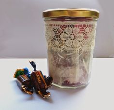 Upcycled jam jar into sweetie jar. Great way to make some simple chocolates look like a more exciting gift. Art Christmas Gifts, Jam Jar, Mason Jars, Best Gifts, Mugs, Chocolates, Simple, Tableware, How To Make