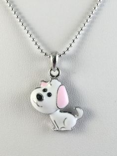 Necklace Puppy Dog Pink White Silver Tone Ball Chain 18 Inches N115P #Unbranded #Pendant