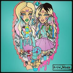 "Rebecca & Fiona | By Anton Belardo ""Getting ready for escape from wonderland"" october 2013 #edm #art #illustration #djs"