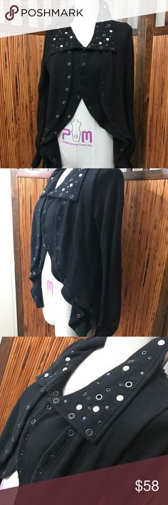 We the free+people black draped double button Virtually new Free People Jackets & Coats