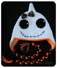 Crochet Point Ghost Earflap Beanie Hat - Picture Idea