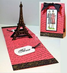 Haute Couture created by Frances Byrne using Eiffel Tower Pop Stand Card - designed by Karen Burniston for Elizabeth Craft Designs; Jewelry 3 Dog Tags - Elizabeth Craft Designs. Stamps from Cornish Heritage Farms