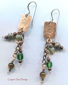 Artisan Metalwork dangle earrings Handmade by CopperSunDesign