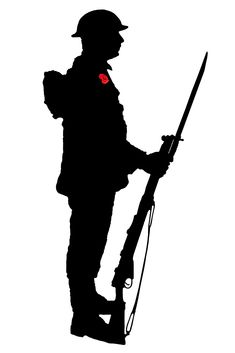 A Silhouette of a World War 1 soldier with wearing a poppy. Soldier Silhouette, Silhouette Clip Art, Silhouette Images, Remembrance Day Pictures, Remembrance Day Poppy, Anzac Soldiers, Ww1 Soldiers, Soldier Tattoo, Soldier Drawing