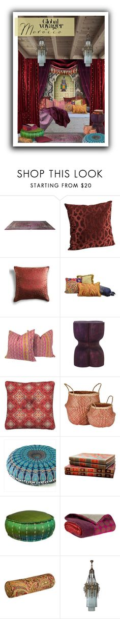 """Global Voyager: Morocco"" by mysfytdesigns ❤ liked on Polyvore featuring interior, interiors, interior design, home, home decor, interior decorating, Sarreid, Grandin Road, Improvements and Murmur"