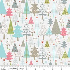Grey Aqua Pink and Green Christmas Tree Flannel, A Merry Little Christmas By Zoe Pearn For Riley Blake, Merry Trees in Cream, 1 yard on Etsy, $8.75