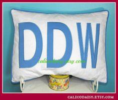 JUMBO Applique Monogram Standard Pillow Sham  by calicodaisy, $80.00 #big monogram #large applique #home dec #boys bedroom