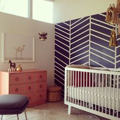 the brick house | nursery design; purple chevron painted wall