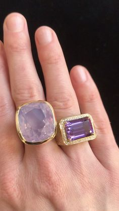 18k yellow gold Crownwork® cocktail rins with lavender moon quartz stone and claw set amethyst with diamond halo #amethystring #lavenderquartzring #purplerings Druzy Quartz, Amethyst Quartz, Quartz Ring, Quartz Stone, Druzy Ring, Gemstone Rings, Gems Jewelry, Stone Jewelry, Jewellery
