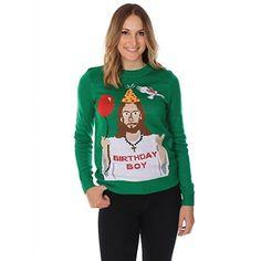 Women's Ugly Christmas Sweater – Happy Birthday Jesus Sweater Green