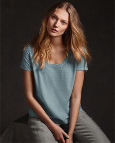 Poetry - Essential Cotton T-shirt - These pure cotton T-shirts have been garment-dyed to create a subtle, faded colour that's softer and more sophisticated. With a pretty, twisted trim at the neckline, stitch details at the seams and simply styled with a round neck and a relaxed fit. 100% cotton
