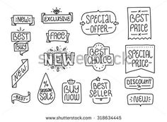 Collection of  hand drawn labels. Shopping theme. New, sale, best choice and other inscriptions. Black and white. - stock vector