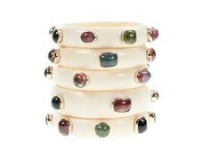 Stacked Mammoth Bangles with Stones  by Jessica Kagan Cushman