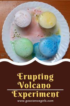 Make Volcano Experiment for Preschool kids - create your own Rainbow Volcano Experiment at home. #10minutescience #sciencefun #volcanoexperimentproject