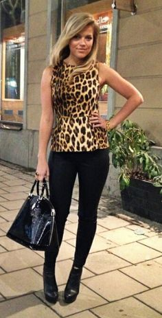Chic fall outfit / animal print top  PS I LOVE FASHION