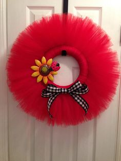 Cute tulle wreath.  Spring wreath.  Summer wreath.  Fall wreath.