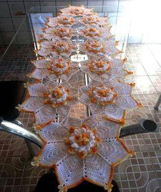 Table centerpiece crochet doily french decor - housewarming crochet rose gift for wife - rose table decoration crochet anniversary runner Art Au Crochet, Crochet Home, Thread Crochet, Love Crochet, Crochet Flowers, Crochet Dollies, Crochet Doily Patterns, Crochet Squares, Crochet Designs