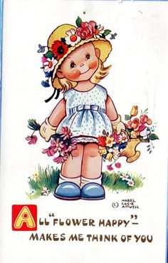 S7185 Mabel Lucie Attwell postcard, Girl with flowers, Valentines 5932 picclick.com