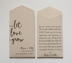 DIY Wedding Ideas for Brides Who Love Lettering | Gift your guests a wedding favor that grows with your love. Flower seeds are inexpensive and an easy DIY project. Use craft paper to fold an envelope and write a sweet message to your guests along with your names and wedding date.