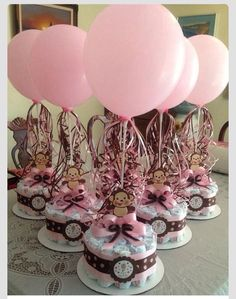 Girl Monkey Baby Shower Diapers Centerpiece With Balloons , Diaper Cake,  Monkey Centerpiece.