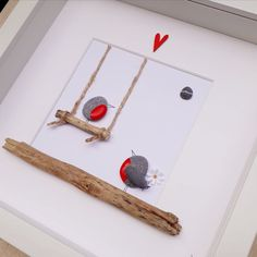 Wedding gift Robin pebble picture Robins on a swing Proposal Picture Framed pebble art Valentines Day Birthday gift Engagement gift Valentines Day Birthday, Valentines Day Gifts For Him, Birthday Gifts, Art Birthday, Sea Glass Crafts, Sea Glass Art, Robins, Proposal Pictures, Wedding Pictures