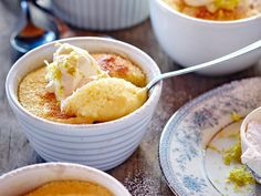 This lemon pudding recipe never gets boring – it's tangy and vibrant in flavour, and light and soft in texture. It's a good way of using up any less-than-fresh yoghurt. Waste not, want not!