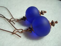 Royal Earrings Blue sea glass earrings blue by MicheladasMusings, $10.00